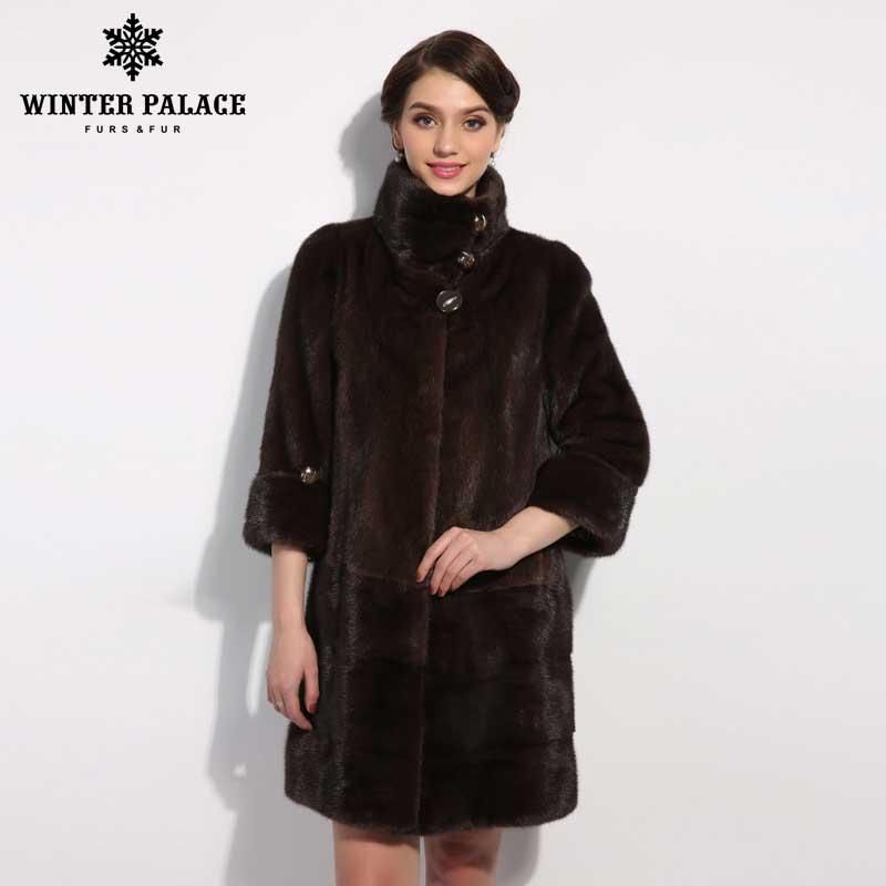 ЗИМНИЙ ДВОРЕЦ Новый стиль меховой моды пальто, Натуральная Кожа, Мандарин Воротник, хорошее качество норки пальто, женщины природный пальто...