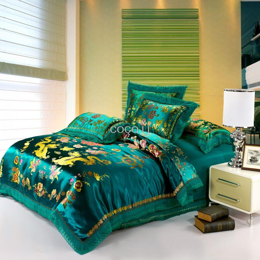 Zelda Bettwäsche Us 87 75 25 Off Green Satin Duvet Cover Set Dragon And Phoenix Chinese Wedding Bedding Set Print Modern Suits Jacquard Bedclothes In Bedding Sets
