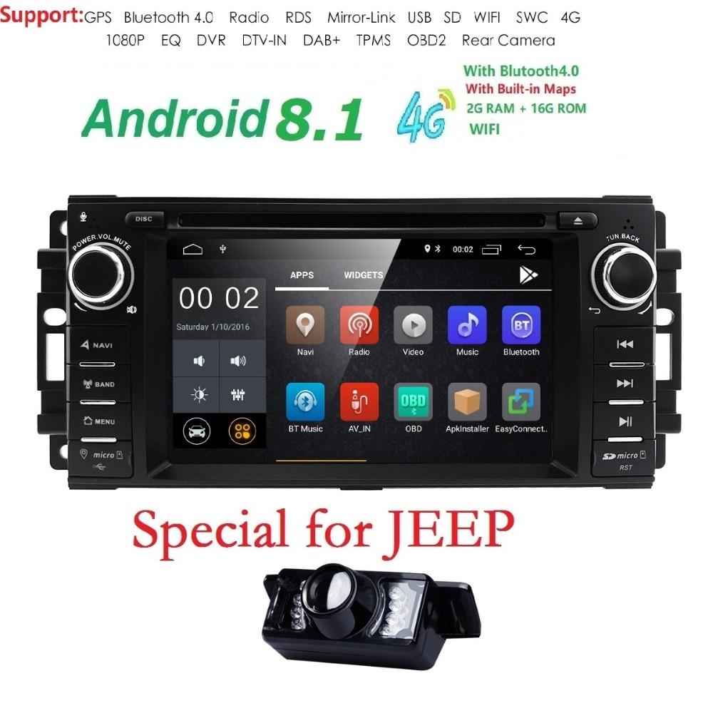 Lecteur DVD de voiture Hizpo 1 din Android 8.1 pour jeep Grand Cherokee Chrysler 300c boussole/Dodge Chevrolet Epica Wrangle