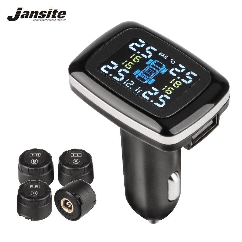 Jansite автомобильный TPMS система мониторинга давления в шинах USB порт дисплей экран 4 встроенные/внешние датчики прикуривателя Авто tpms