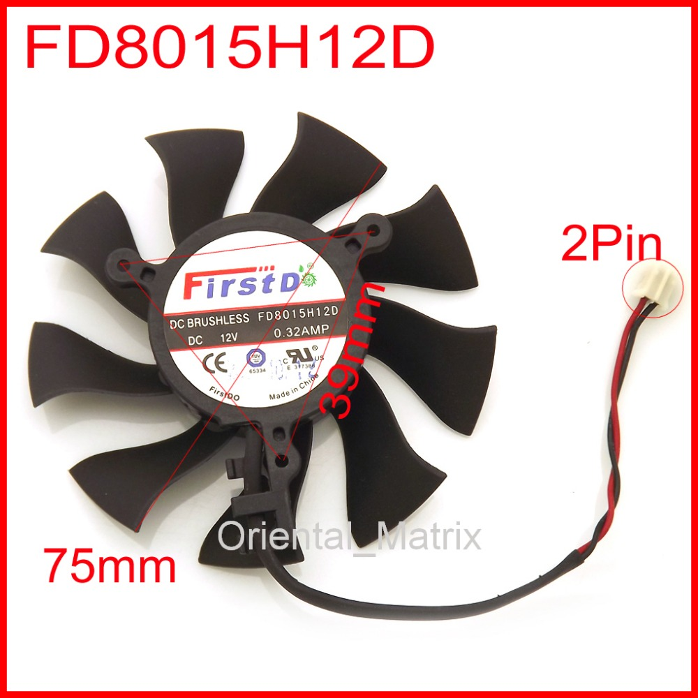 Free Shipping FD8015H12D 12V 0.32A 75mm For ZOTAC GTX650 <font><b>GTX650Ti</b></font> Graphics/Video Card Fan 2Pin image