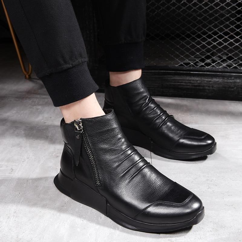 Mâle Courtes DécontractéesMétrosexuel La Nouveaux Cuir Chute Bottines Noir Haute Chaussures Britanniques D'équitation En Bottes De Hommes iuwOZlkXTP
