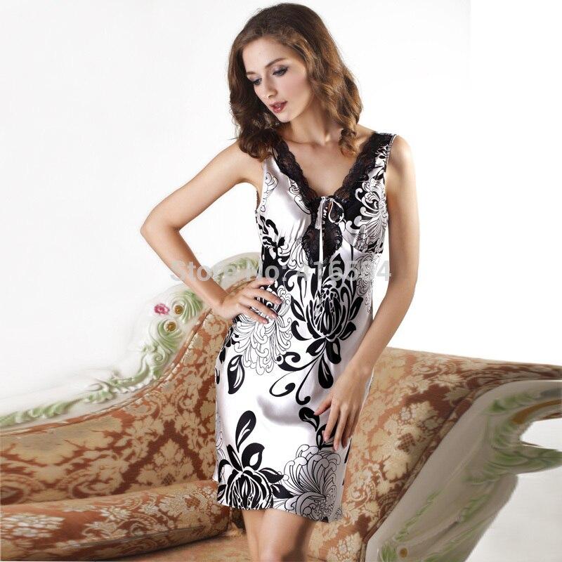 Womens Satin Vest Nightdress Lace Double V-neck Slip - Silver Daisy Print Silky Nightgown - Womens Satin Sleepwear