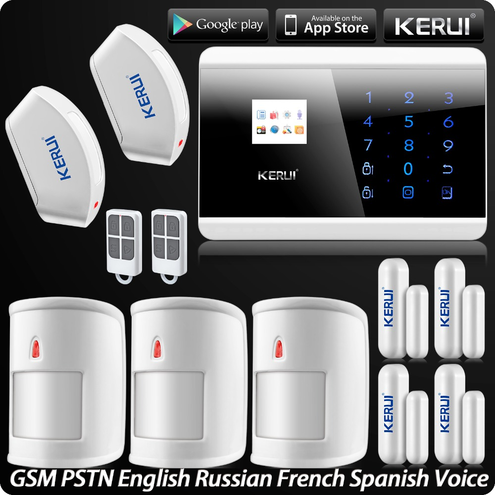 KERUI ANDROID IOS APP Control Intelligent Home Alarm Security System SMS Arm/Disarm with Wireless Curtain PIR Motion Detector