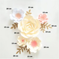 Handmade Pink Ivory White Fleur Completed Paper Flowers Gold Leaves Set 4 Nursery Wall Deco Baby Shower Girls Room Decor