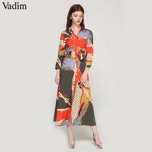 Vadim women elegant patchwork print maxi dress bow tie sashes long sleeve pleated female office wear long dresses vestidos QA483(China)