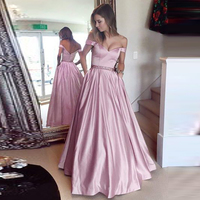 Elegant A line Evening Party Maxi Dress Vintage Off Shoulder Prom Pocket Long Dresses Sexy V Neck Vestidos Mujer Plus Size S 5XL