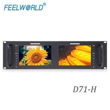 Feelworld D71 H 3RU Rack Mount Broadcast 1280x800 Dual 7 นิ้ว IPS HDMI AV LAN พอร์ต