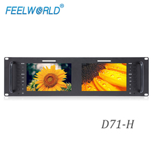 Feelworld D71 H  3RU Rack Mount Broadcast Monitor 1280x800 Dual 7 inch IPS with HDMI AV LAN In Port