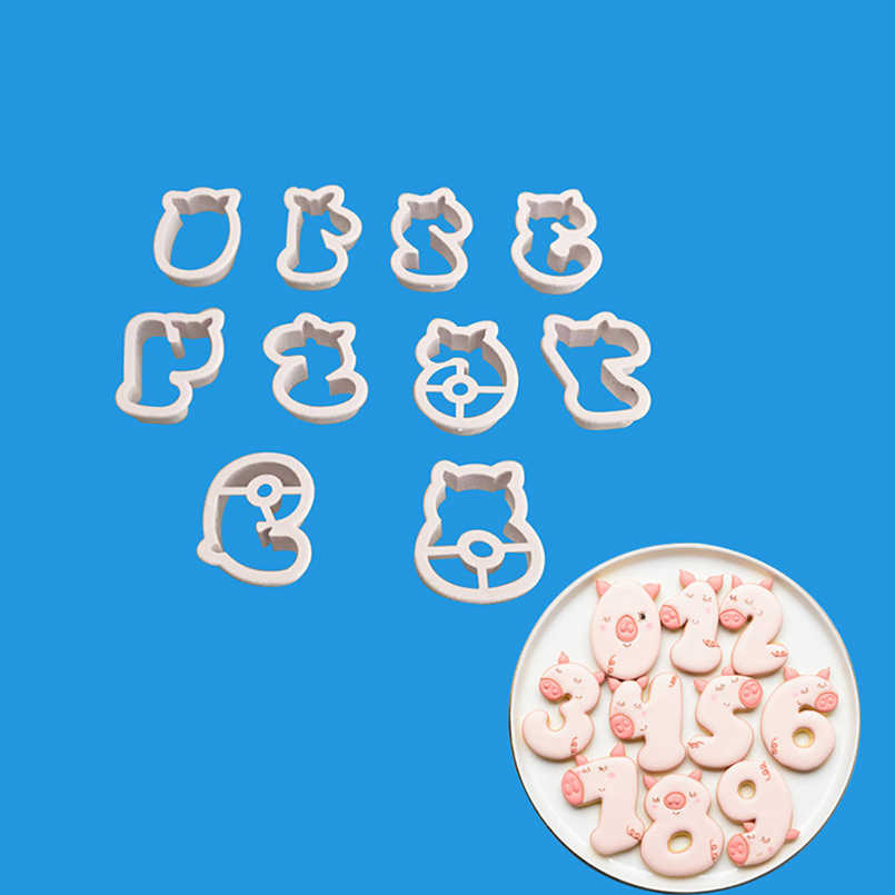 Cute Pig Shape 0-9 Numbers Biscuit Mold Set Sugarcraft Food Grade Plastic Fondant Cookie Cutter Bakeware Cake Decorating Tools
