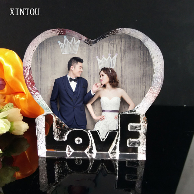 Xintou Crystal Glass Love Photo Frame Heart Shape Diy Bilderrahmen