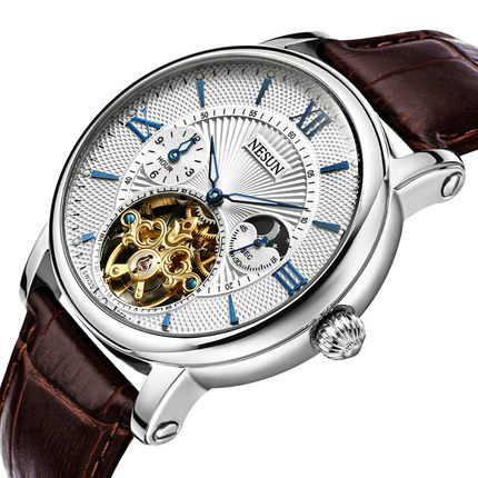 aliexpress com buy shipping nesun 5atm skeleton moon phase aliexpress com buy shipping nesun 5atm skeleton moon phase watches men luxury brand automatic mechanical sapphire mirror wristwatch from reliable