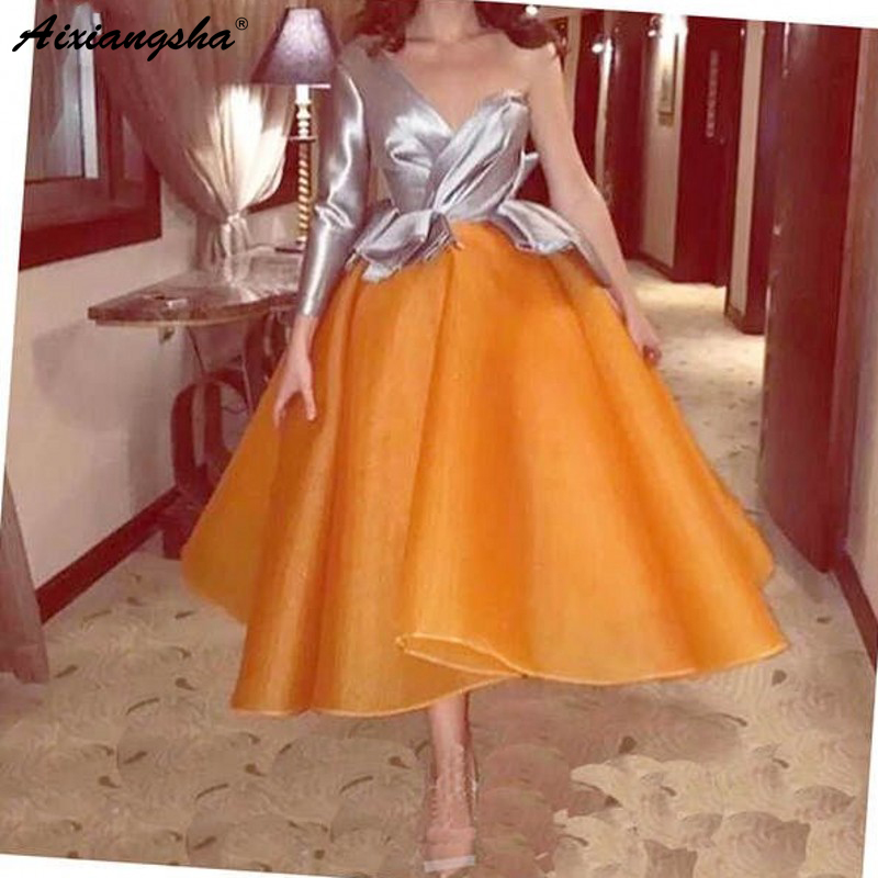Elegant   Cocktail     Dresses   2019 Orange Puffy robe de soiree Tea-Length vestido de noiva Pageant Party Gown Homecoming   Dresses