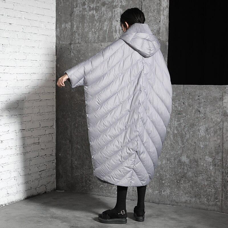 Hiver cocon manteau manches chauve souris mode style lâche et casual tendance femmes super long super grande taille doudoune capuche parkas - 4