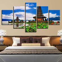 Canvas HD Prints Pictures Home Decor 5 Pieces Pura Ulun Danu Bratan  Paintings Modular Living Room Wall Art Lake Pagoda Posters 3aa429a5ae8e