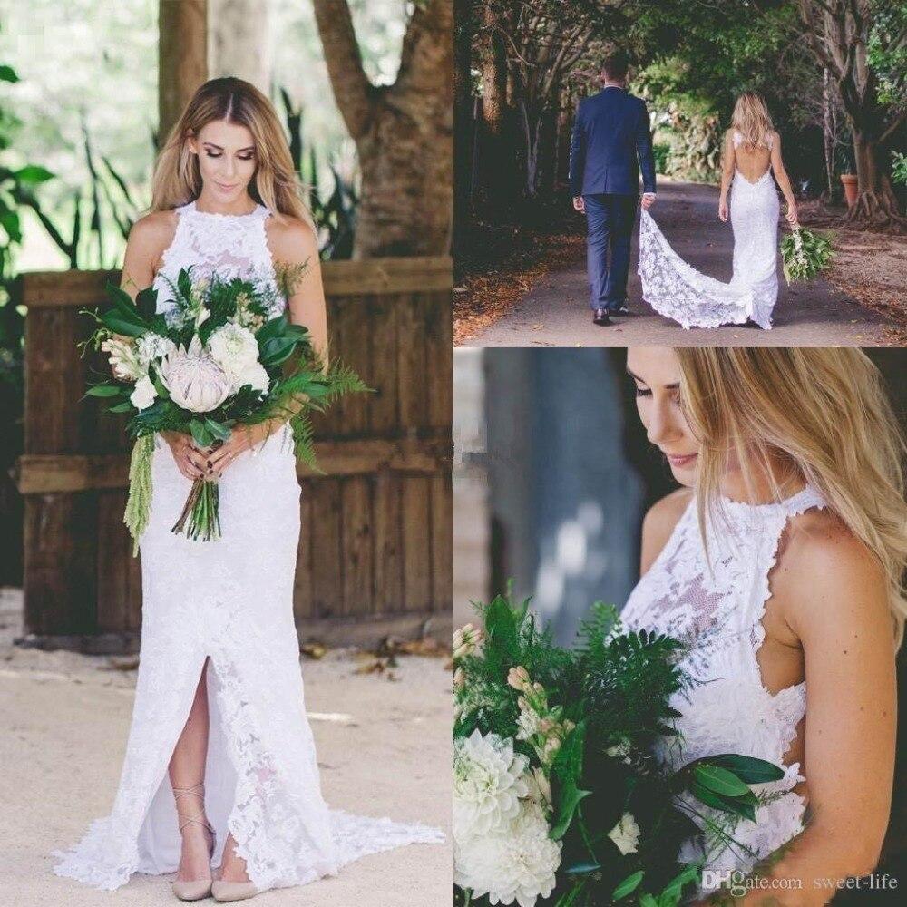 Lace Boho Wedding Dress 2019 Beach Wedding Party Dress vestido de noiva Bridal Wedding Gowns Plus Size robe de mariee Open Back
