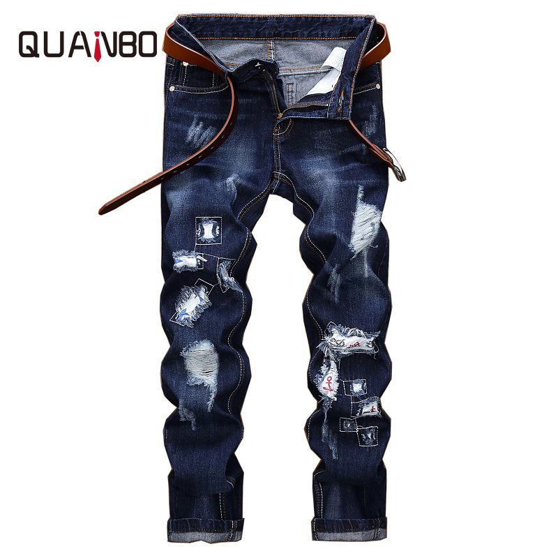 QUANBO 2019 New Spring Fashion Hole Jeans Men Long Trousers Embroidered Cotton Classic Straight Jeans Plus size Blue N2040