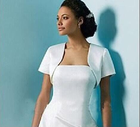 Free shipping Simple Bridal Jackets Short sleeved jacket White ...