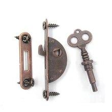 Cerraduras de cerradura de armario de muebles Vintage clásicas cerradura de gancho de bronce rojo con caja de madera de bronce Vintage