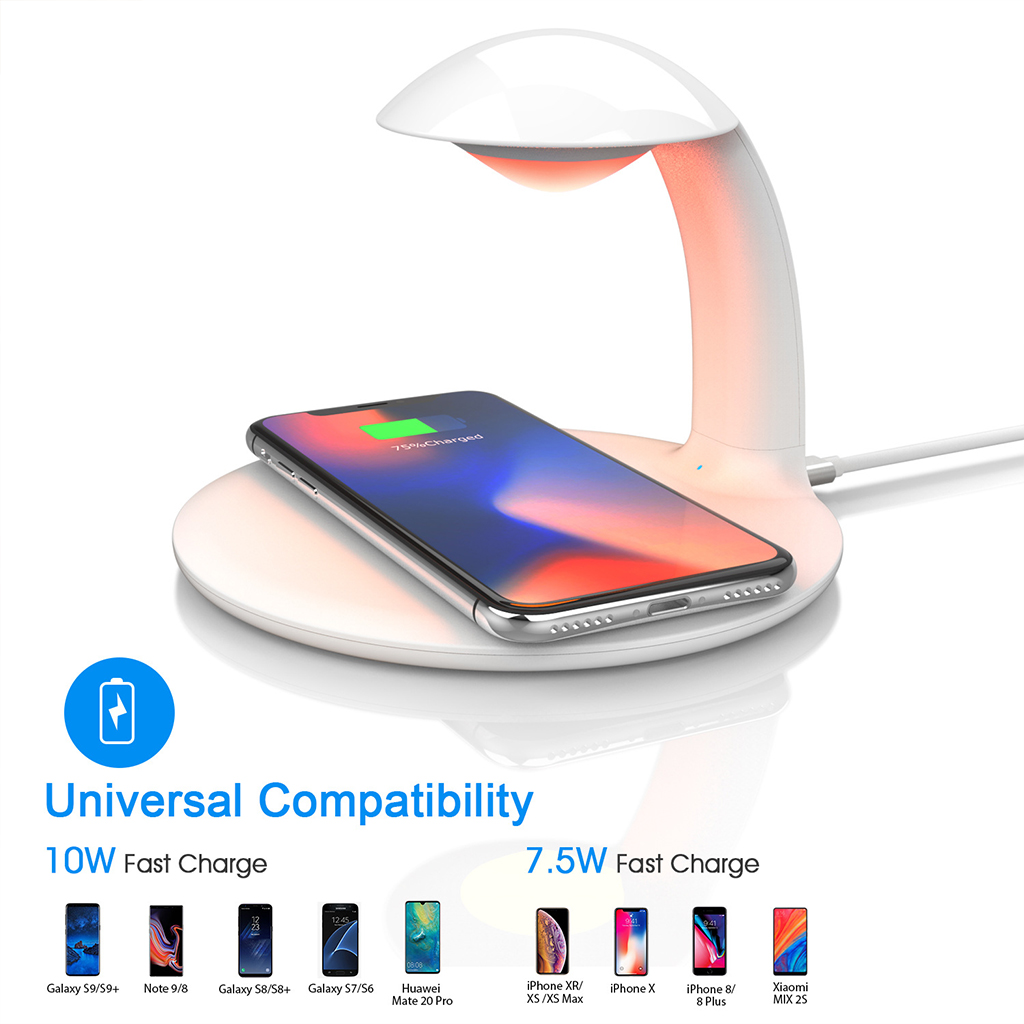 Wireless Charger With Smart Touch Small Desktop LED Lamp RGB Color Bedside Lamp Compact Portable Phone Charger in Mobile Phone Chargers from Cellphones Telecommunications