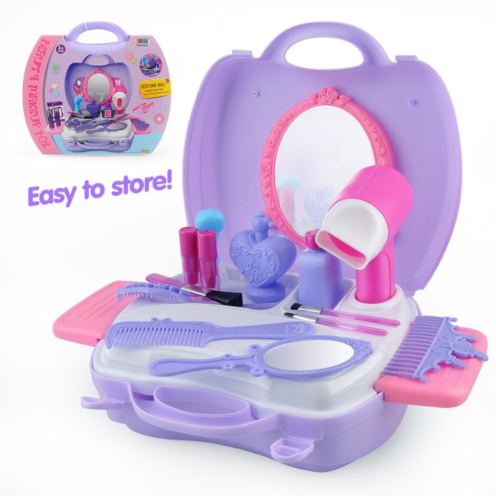 Princess Girl's Pretend Play Make Up Toys Portable Plastic ...