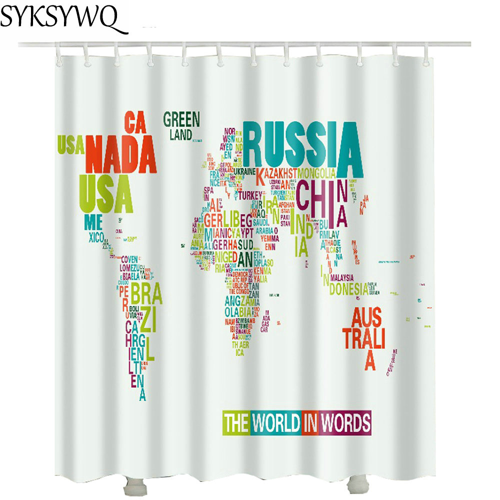 US $15.81 38% OFF|World Map Shower Curtain New Arrival Cheap Wholesale Drop  Shipping Waterproof Fabric Polyester Russia Bathroom Curtain-in Shower ...