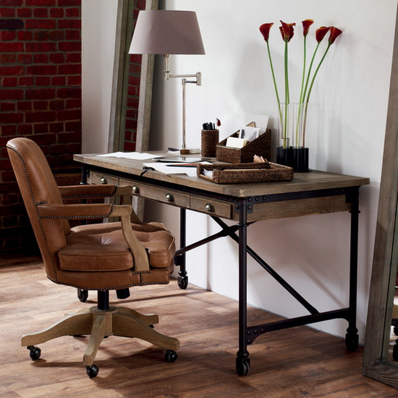 American country style wrought iron wood writing desk LOFT