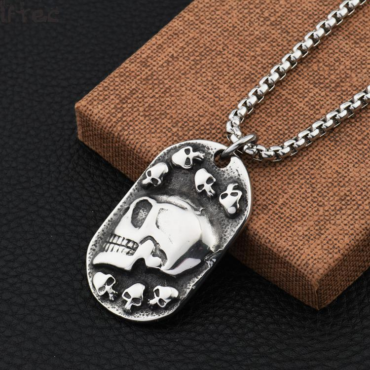 Shop535781 Store Hiphop Style  New Silver Black 316l Stainless Steel Biker Skull Dog Tag Pendants Necklace Cool Jewelry Gift Chain 24'' For Men