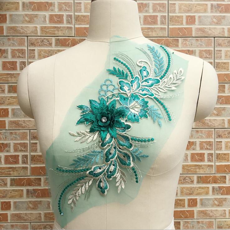 Cindylaceshow 1PC Multi 3D Flower with Rhinestones Lace Trim Wedding Fabric for Costume Dress Decor Sewing