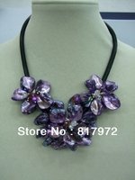 Elegant Handmade Shell Slice Knit Three Purple Beautiful Flower Bib Pendant Chain Necklace Chunky Hide Rope