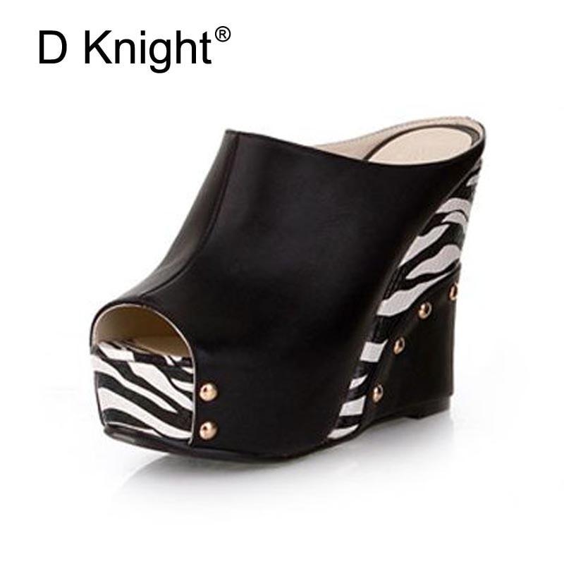 Hot Sale Women Open Toe Platform Wedges Sandals Fashion Zebra Print High Heels Women Slippers Ladies