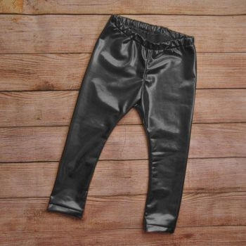Children Girls Leather Bronzing Pants Leggings Skinny Elastic Waist Child Baby Casual Solid Black Warm Trousers 2017 New HOT 1