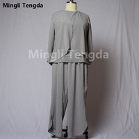 Custom Made Mother of the Bridal Dresses with Jacket Mingli Tengda Gray Three piece Pants Suits Wedding Party Dress Plus Size