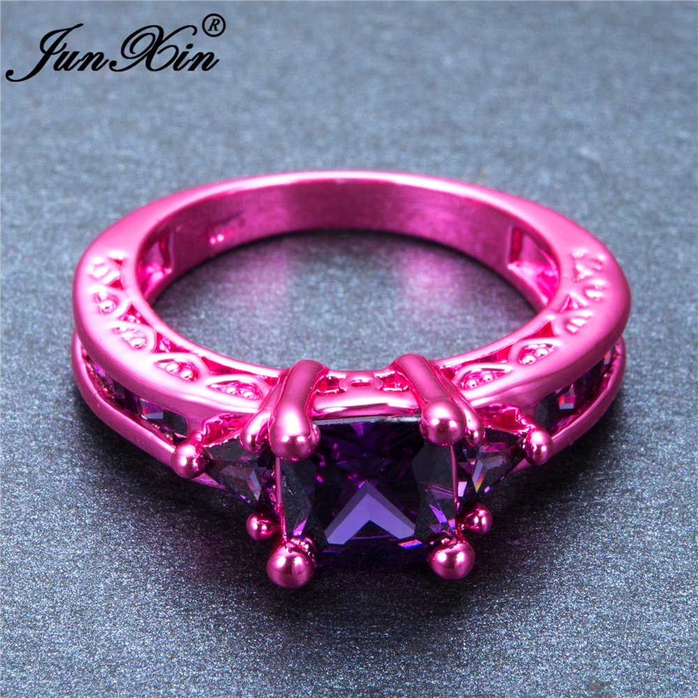 JUNXIN Retro Female Girl\'s Purple Geometric Ring Pink Gold Filled ...