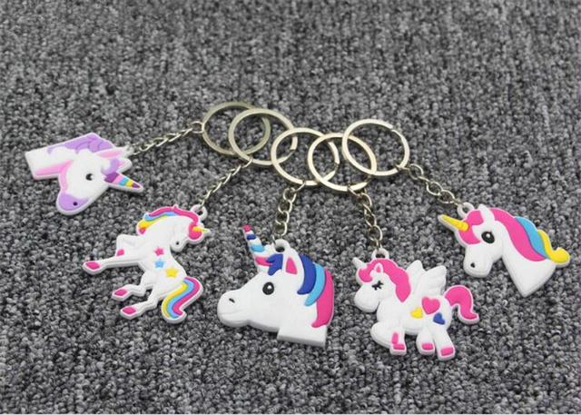 5 uds. Llaveros unicornio llavero colgante de Navidad decoración fiesta de cumpleaños Favor unicornio caballo llavero sostenedor colgante regalos