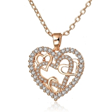 Szelam Heart Heart Necklaces Rhinestone Jewelry Gold Pendant Necklace For Women Collar de mujer 2019 SNE190072 stylish rhinestone heart hollow out pendant necklace for women