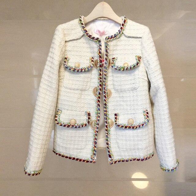 Winter Coat Women Tweed Jacket Long Sleeve Chic Plaid Twist Jaqueta Feminina 2018 Chamarras De Mujer Woolen Coats Outerwear