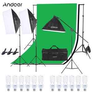 Image 2 - Andoer набор для фотостудии 12 Светодиодный 45 Вт, светильник для фотосъемки, комплект для фотосъемки, аксессуары для камеры и фотографии, 3 светильник, подставка, 3 софтбокса для фотосъемки