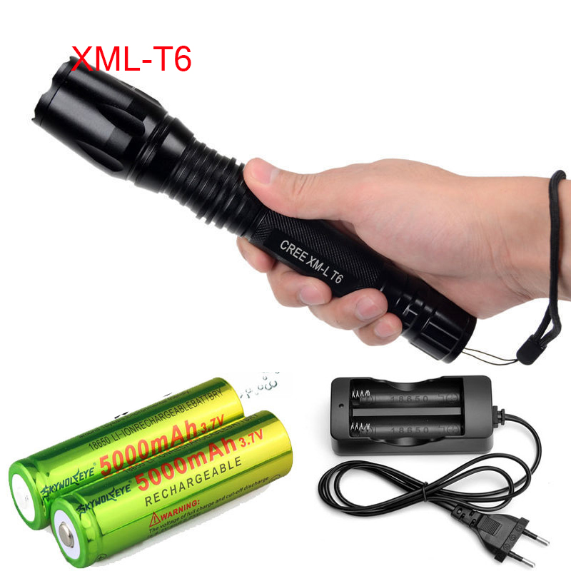 LED Flashlight CREE XM - T6 light 3800 lumens 18650 battery Outdoor camping Cycling Powerful led flashlight flashlight led cree xm l2 light 3800 lumens 26650 battery outdoor camping telescopic zoom self defense powerful led flashlight