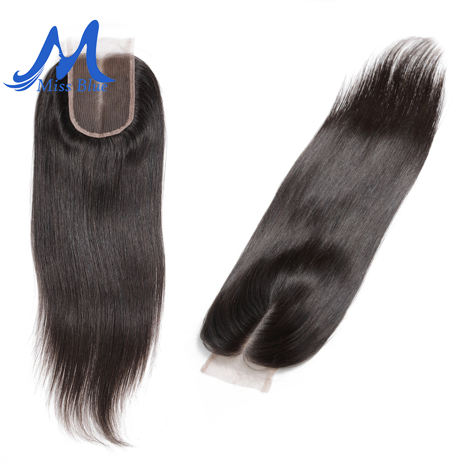 Missblue Brazilian Human Hair Lace Closure Straight Middle Free Part 100 Natural Remy Hair Lace Frontal