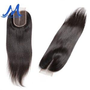 Image 1 - Missblue бразильские человеческие волосы на шнурке, прямые, 4x4, 5x5, швейцарское кружево, 100% Реми, волосы на шнурке, фронтальные, с детскими волосами