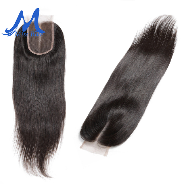 Missblue Brazilian Human Hair Lace Closure Straight 4x4 5x5 Swiss Lace 100% Remy Hair Lace Frontal Closure With Baby Hair