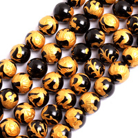 Gem inside 10 14mm Natural Black Agates Gold Carved Dragon Turtle Tiger Phoenix Mala Beads For Jewelry Making 15'' DIY Father Gi