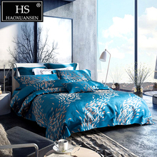 HS Luxury Sky Blue Paisley Fireworks Jacquard 4pcs Comforter Bedding Sets 120S Thickened Bed Linen Set King Size Bedclothes
