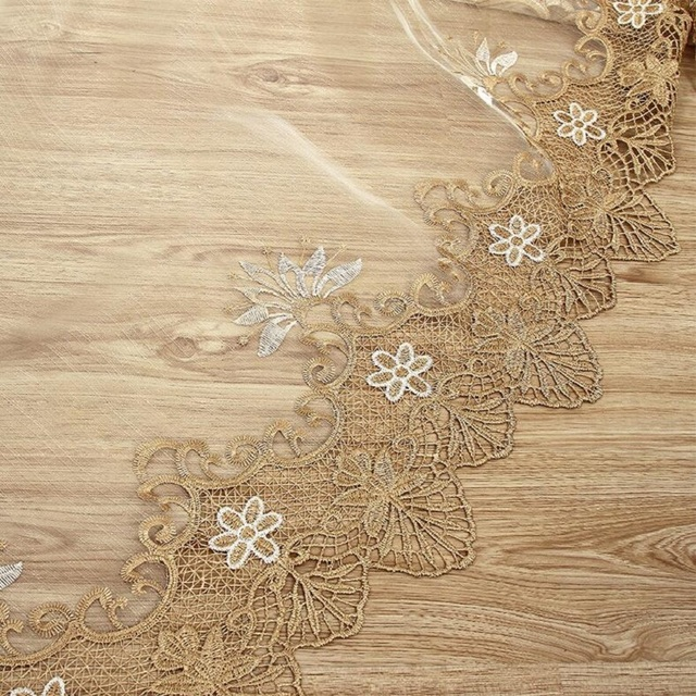 Luxury Embroidered Sheer Voile Gold Lace Curtains