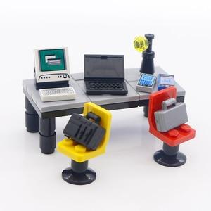 Image 2 - City Accessories Building Blocks Laptop Office House Computer Suitcase Compatible Friends MOC Brick Kids Gift Toys For Children