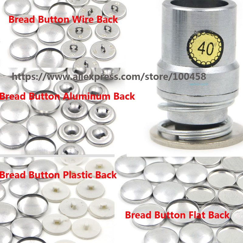 40#2.4cm Round Fabric Covered Button Component with Die Tool Metal Bread Top Flat Plastic Ring/Aluminum Back DIY Handmade Button