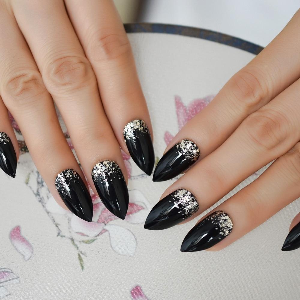 UV Gel Glitter Stiletto Fake Nails Super Sharp Tip Charmpagne Black Press On Manicure Tips Shimmer Fingernails Custom