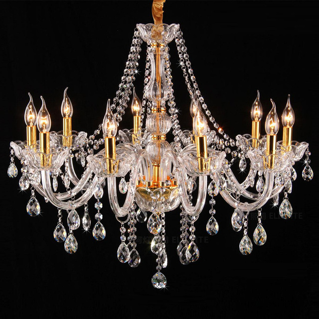 Antique Candle Chandeliers Champagne Crystal Chandelier: Italy Style Clear Glass Arm Chandelier 8/10 Pcs LED Gold