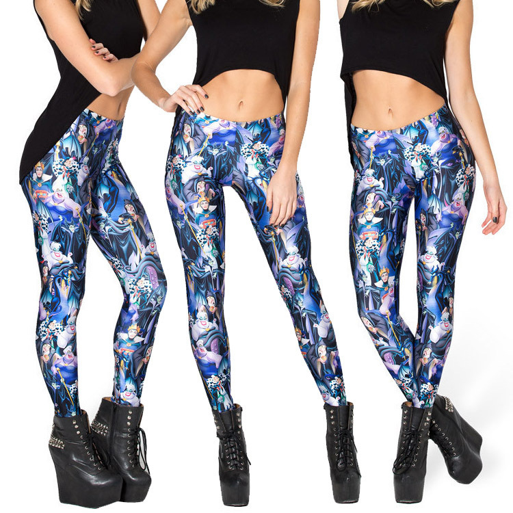 Spandex Pecil pants New 2015 women blue wizard patterned digital ...